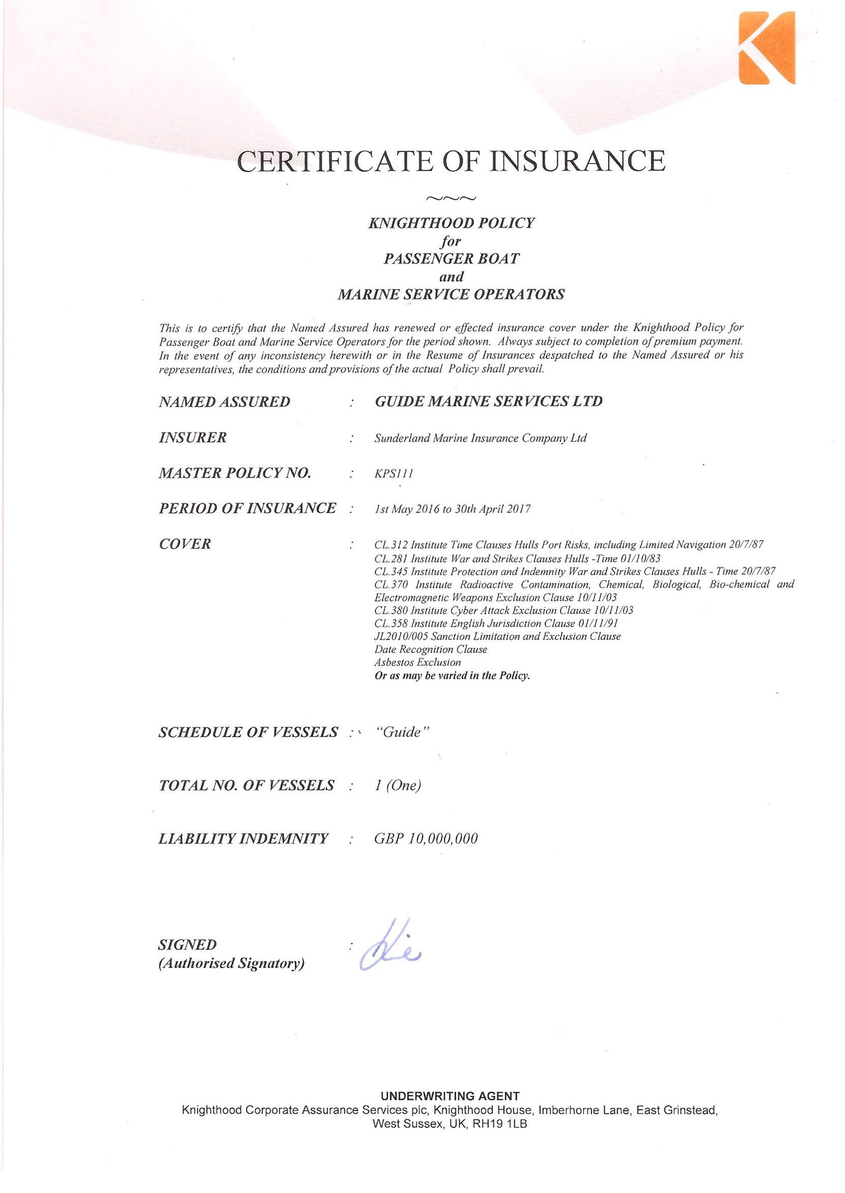 Guide Insurance Certificate