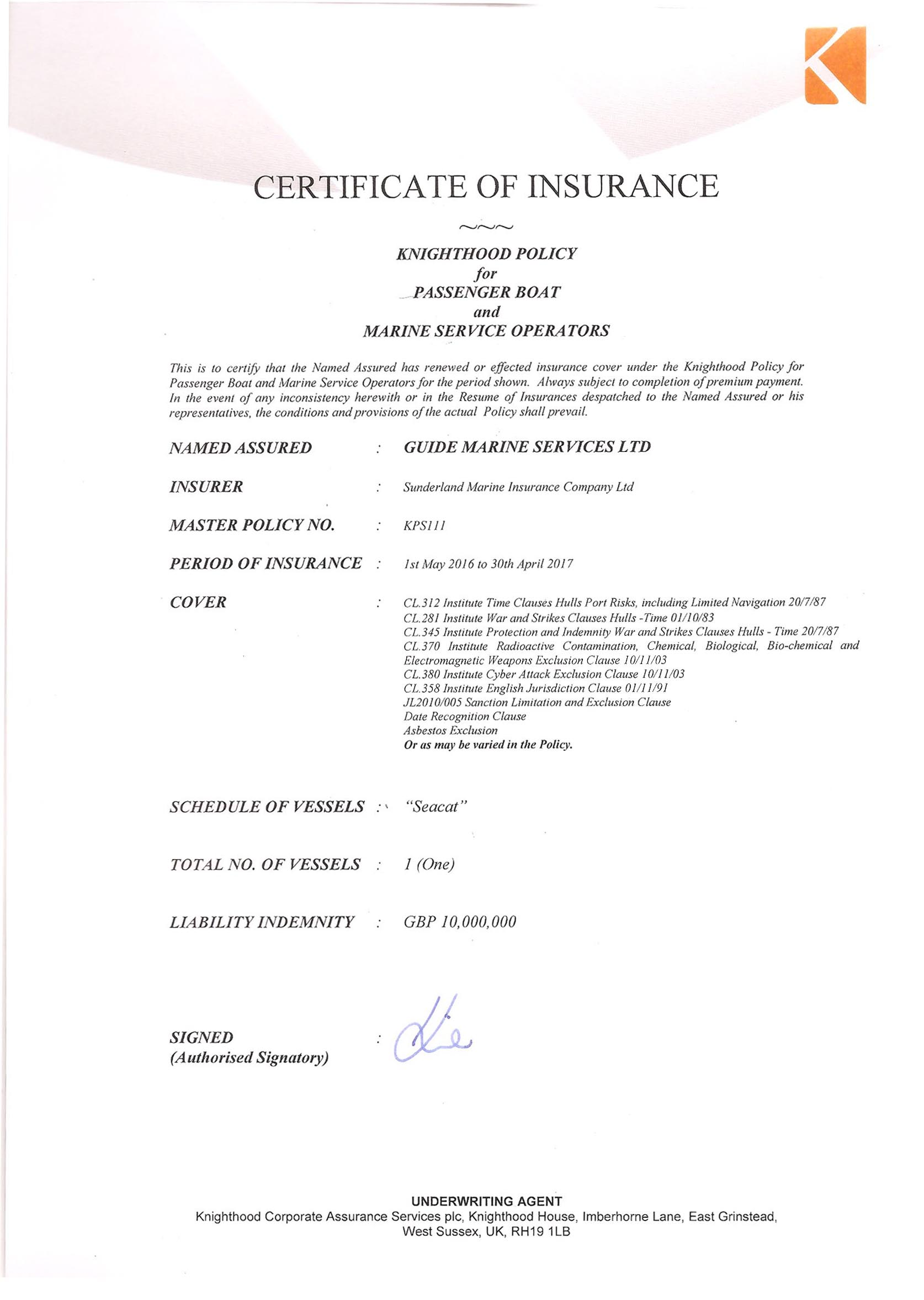 Seacat Insurance Certificate